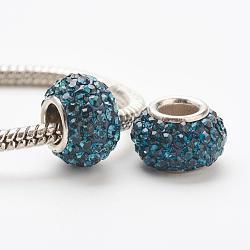 cristal autrichien perles européennes, grandes perles de trou, le noyau sterling silver, rondelle, 207 _montana, 11~12x7.5 mm, trou: 4.5 mm(STER-E049-E13)