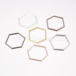 Anneaux connecteurs en alliage, hexagone, couleur mixte, 26x22x1mm(PALLOY-E446-06A)