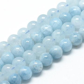 Natural Aquamarine Beads Strands, Grade A, Round, 8~9mm, Hole: 1mm; about 45~48pcs/strand, 15.7inches(G-R446-8mm-05)