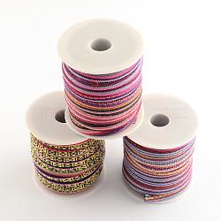 Cordon ethnique cordon en tissu, couleur aléatoire simple ou couleur mélangée aléatoire, 6~7 mm; environ 8 m/rouleau(OCOR-Q003-03)