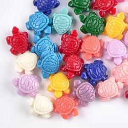 Perles de corail synthétiques, teint, tortue de mer, couleur mixte, 12x10x5.5mm, Trou: 1.2mm(CORA-S026-13)