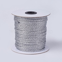 Resin and Polyester Braided Cord Thread, Gray, 4mm; about 50yards/roll(45.72m/roll), 150 feet/roll(OCOR-F008-D01)