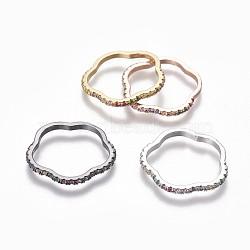 Micro en laiton pavent zircone cubique anneaux de liaison, fleur, couleur mixte, 22x22.5x1.8mm, Trou: 18x19mm(ZIRC-P078-01-01)