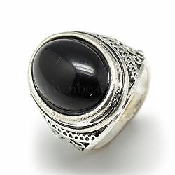 anneaux de verre larges, avec des résultats d'anneaux d'alliage, ovale, argent antique, taille 7~11, noir, 17~21 mm(RJEW-S039-02B)