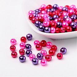 Ensembles de perles de verre de mélange de valentine, nacré, couleur mixte, 6mm, trou: 1 mm; environ 200 PCs / sachet (HY-X006-6mm-10)