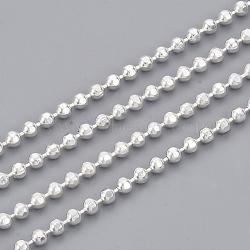 chaînes à billes en laiton soudé, avec bobine, facettes, plaqué argent, 2 mm(X-CHC-S008-004C-S)