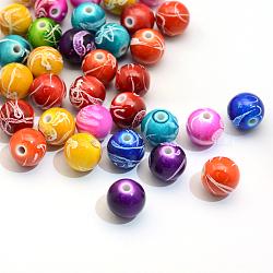 Vaporisez perles peintes rondes acryliques drawbench, couleur mixte, 20mm, trou: 3 mm; environ 110 pcs / 500 g(ACRP-S657-20mm-M)