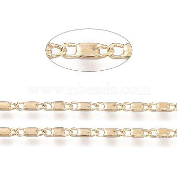 Brass Bar Link Chains, Soldered, Real 18K Gold Plated, 7x2.3x1mm(X-CHC-R126-08G)