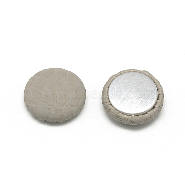 Imitation Leather Covered Cabochons, with Aluminum Bottom, Flat Round, LightGrey, 17.5~18x5mm(X-WOVE-S084-04B)