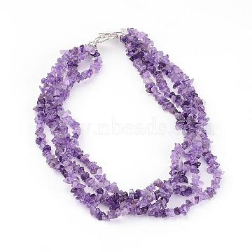 Chip Natural Amethyst Beaded Multi-Strand Necklaces, with Tibetan Style Alloy Toggle Clasps, 15.75 inches(NJEW-JN01576-05)