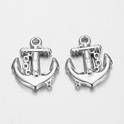 CCB Plastic Anchor Pendants, Nickel Color, Size: about 20mm long, 16mm wide, 3mm thick, hole: 2mm