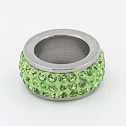 304 perles de colonne en acier inoxydable, avec argile polymère strass, couleur métallique en acier inoxydable, péridot, 13x6 mm, trou: 8 mm(RB-I065-05)