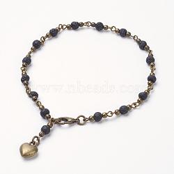 """Bracelets de lave, laiton séparateurs perles, Braguettes de coeur de style tibétain et fermoirs de griffe de homard en alliage, 9-5/8"""" (245 mm)(AJEW-AN00185-01)"""