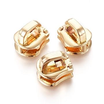 Zinc Alloy Zipper Puller, Garment Accessories, Light Gold, 12.8x11.3x11mm, Hole: 6x2.7mm(PALLOY-WH0067-96C)