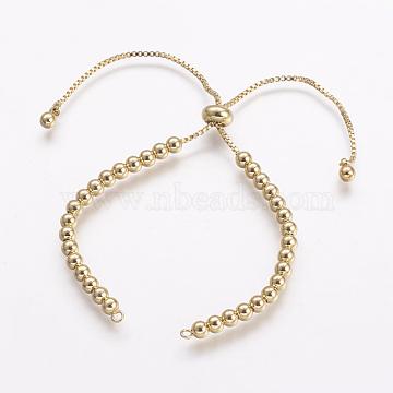 Brass Chain Bracelet Making, Slider Bracelets Making, Cadmium Free & Nickel Free & Lead Free, Real 18K Gold Plated, 5-1/8 inches(130mm); 1mm, Hole: 1.5mm(X-KK-G284-03G-NR)