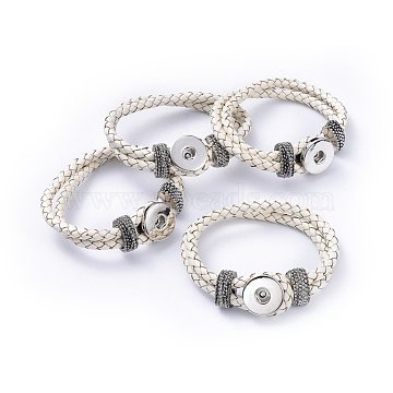 Leather Snap Bracelet Making, with Brass Snaps and Alloy Findings, Platinum, White, 230x19mm(X-AJEW-R022-07)