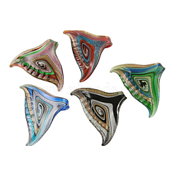 Handmade Silver Foil Glass Pendants, with Gold Sand, Fish Tail, Mixed Color, about 62~63mm wide, 46~48mm long, hole: 7mm(X-SLSP229)