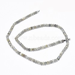 Natural Labradorite Beads Strands, Faceted, Rondelle, 3.5~4x2~2.5mm, Hole: 0.7mm; about 43pcs/strand, 15.5''(39.5cm)
