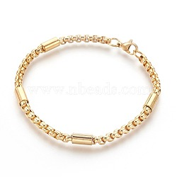 Vacuum Plating 304 Stainless Steel Box Chain Bracelets, with Lobster Claw Clasps, Golden, 8-1/2 inches(21.5cm)(BJEW-L636-06-G)
