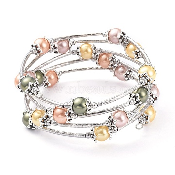 Five Loops Fashion Wrap Bracelets, with Shell Pearl Beads, 304 Stainless Steel Beads and Steel Memory Wire, Colorful, Inner Diameter: 2-1/4 inches(5.7cm)(BJEW-JB05512-04)