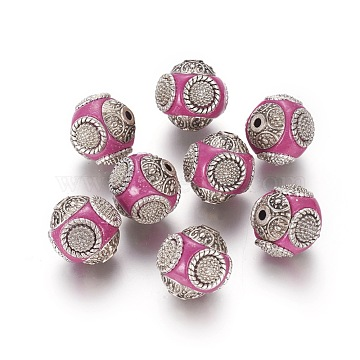 Handmade Indonesia Beads, with Alloy Cores, Round, Antique Silver, Camellia, 14~16x14~16mm, Hole: 1.5mm(IPDL-R397-15)