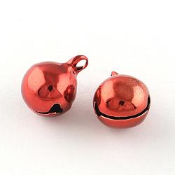 Pendentifs de cloche en laiton, rouge, 16x12mm, Trou: 2mm(X-KKB-R002-12mm-04)