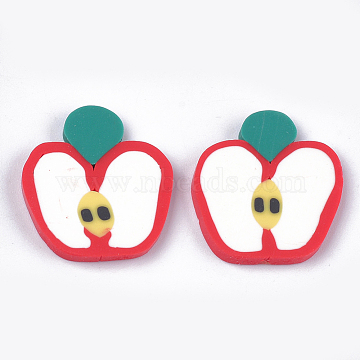Handmade Polymer Clay Cabochons, Apple, Creamy White, 21~22x19x2~3mm(CLAY-S091-44)