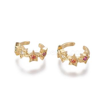 Brass Cubic Zirconia Cuff Earrings, Star, Golden, 10x2~5.5mm(EJEW-O092-05G)