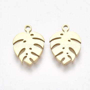 304 Stainless Steel Charms, Tropical Leaf Charms, Monstera Leaf, Golden, 13x9x1mm, Hole: 1mm(X-STAS-S107-05)