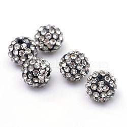 Perles en strass pavé d'argile polymère, perles de boule de disco, cristal, 12mm, Trou: 1.5mm(X-RB-Q197-12mm-31)