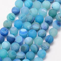 Natural Druzy Geode Agate Bead Strands, Frosted, Round, Dyed & Heated, Grade A, DeepSkyBlue, 10mm, Hole: 1mm; about 37pcs/strand, 15inches