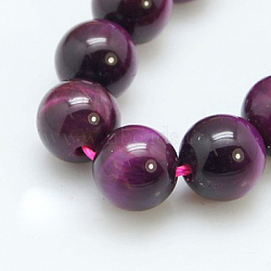 Natural Magenta Tiger Eye Beads Strands, Round, Dyed & Heated, 4mm, Hole: 1mm; about 45pcs/strand, 8