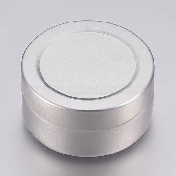 Round Aluminium Tin Cans, Aluminium Jar, Storage Containers for Cosmetic, Candles, Candies, with Slip-on Lid, Platinum, 3.4x1.75cm; Capacity: 10ml(0.34 fl. oz)(CON-L007-06)