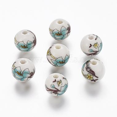 Perles de porcelaine imprimées manuelles(PORC-Q199-12mm-17)-1