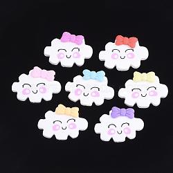 Cabochons en pâte polymère manuels, nuage, couleur mixte, 26~28x37.5x6~7mm(X-CLAY-S091-10)