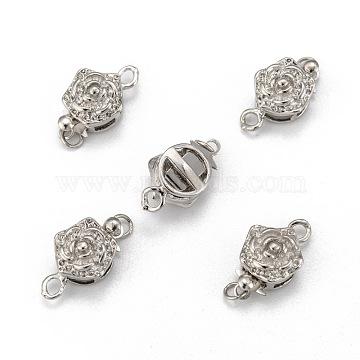 Platinum Plated Brass Box Clasps, Flower, 10mm wide, 15mm long, hole: 1~2mm(X-KK64)