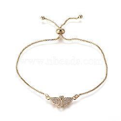"""Bracelets bolo réglables en laiton, Bracelets coulissants, chaînes de boîte, Avec de l'opale synthétique et de la zircone cubique, aile avec le coeur, or, lilas, 9-5/8"""" (24.5 cm), 1mm(BJEW-L618-04G-A)"""