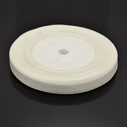 """Décoration de mariage de ruban de couleur blanche en organza, environ 3/8"""" (10mm) de large, 50yards / roll (45.72m / roll)(X-RS10mmY001)"""