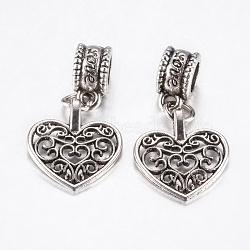 Perles européennes en alliage de style tibétain, Pendentifs grand trou, coeur creux, argent antique, 28mm, pendentif: 16.5x15x1.5 mm, Trou: 4.5mm(PALLOY-F199-28AS)
