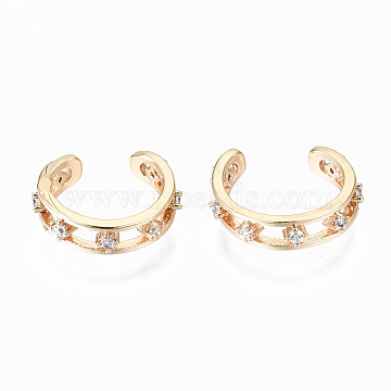 Brass Micro Pave Clear Cubic Zirconia Cuff Earrings, Nickel Free, Ring, Real 18K Gold Plated, 12x3mm, Inner Diameter: 12mm(KK-S356-152G-NF)