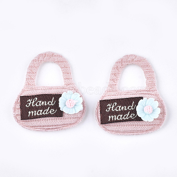 Handmade Cotton Cloth Costume Accessories, with Resin Flower, Handbag with Word Hand Made, Pink, 30~32x28~30x7mm(X-FIND-T021-10D)