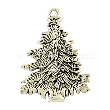 Tibetan Style Alloy Christmas Tree Big Pendants, Lead Free & Nickel Free, Antique Silver, 67x42x3mm, Hole: 5mm(X-TIBEP-5251-AS-FF)