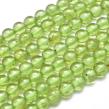 Natural Peridot Beads Strands, Round, 4~4.5mm, Hole: 0.5mm; about 102pcs/Strand, 15.35 inches(39cm)(G-K305-02-C)