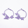 MediumPurple Iron Earrings(EJEW-N010-04D)