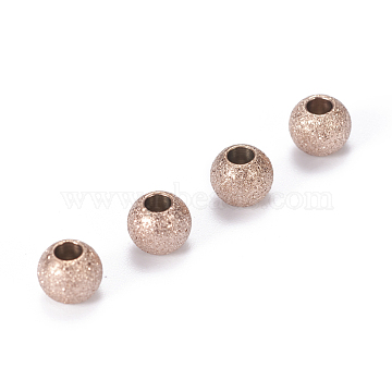 Vacuum Plating 304 Stainless Steel Textured Beads, Round, Rose Gold, 5x4mm, Hole: 2mm(X-STAS-F217-10RG-A)