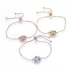 """Bracelets bolo extensibles en laiton avec zircon cubique de micro pavé, Bracelets coulissants, moulin à vent, colorées, couleur mixte, 10-1/4"""" (26cm); 1.2mm(BJEW-H583-19)"""