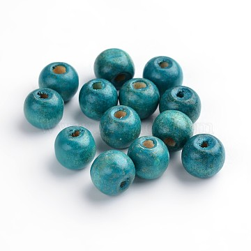 Natural Wood Beads, Dyed, Round, SkyBlue, about 12mm in diameter, 10.5mm thick, hole: 3mm(X-TB12mmY-9)