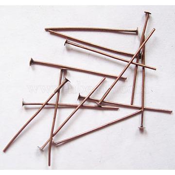 Iron Flat Head Pins, Cadmium Free & Nickel Free & Lead Free, Red Copper, 30x0.75~0.8mm; about 336pcs/50g(X-HPR3.0cm-NF)