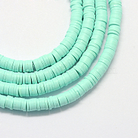 Eco-Friendly Handmade Polymer Clay Beads, Disc/Flat Round, Heishi Beads, Aquamarine, 6x1mm, Hole: 2mm, about 380~400pcs/strand, 17.7 inches