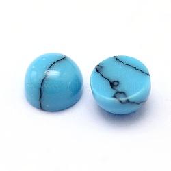 Teints synthétique moitié turquoise dôme rond cabochons à fond plat, bleu foncé, 2.5x1.8mm(X-G-L388A-01)
